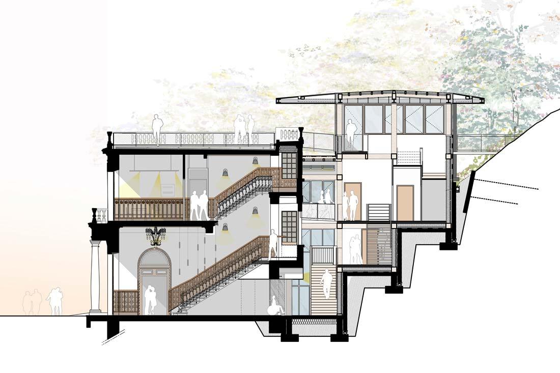 Christophe Gillet architecte patrimoine, rénovation de l'auberge des Dauphins, forêt de Saoù, plan coupe