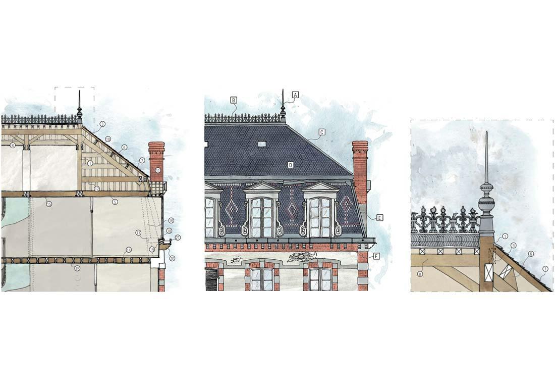 Christophe gillet architecte du patrimoine, rénovation d'une villa à Pontorson, shémas de détails de la façade