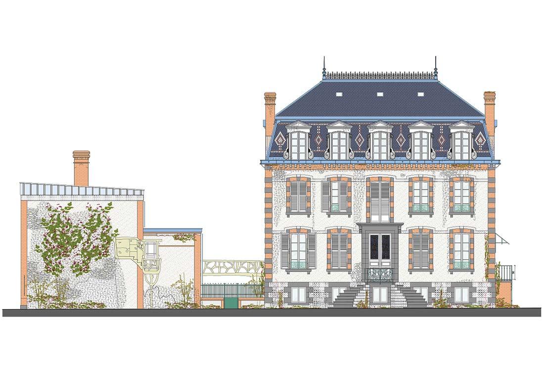 Christophe gillet architecte du patrimoine, rénovation d'une villa à Pontorson, shéma de l'élévation de la façade