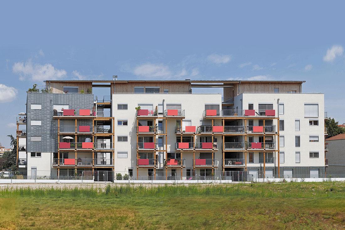 Pierre Levy architecte; construction d'un éco-immeuble pour une coopérative d'habitants, label BBC Effinergie; vue façade sud