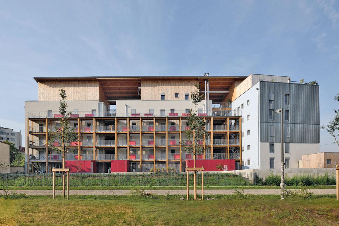 Pierre Levy architecte; construction d'un éco-immeuble pour une coopérative d'habitants, label BBC Effinergie; vue façade nord