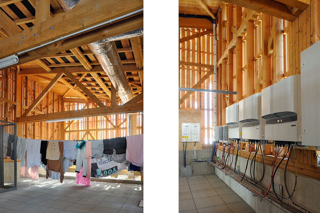 Pierre Levy architecte; construction d'un éco-immeuble pour une coopérative d'habitants, label BBC Effinergie vue du grenier commun et onduleurs